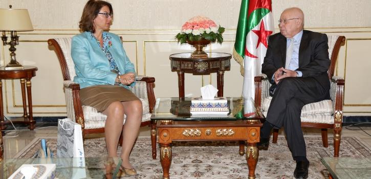 رئيس مجلس الأمة يستقبل سفيرة سويسرا