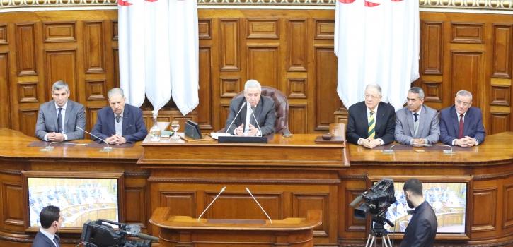 جلسة المصادقة على قائمة نواب رئيس مجلس الأمة وإثبات عضوية ثلاثة أعضاء جُدد بعنوان الثلث الرئاسي