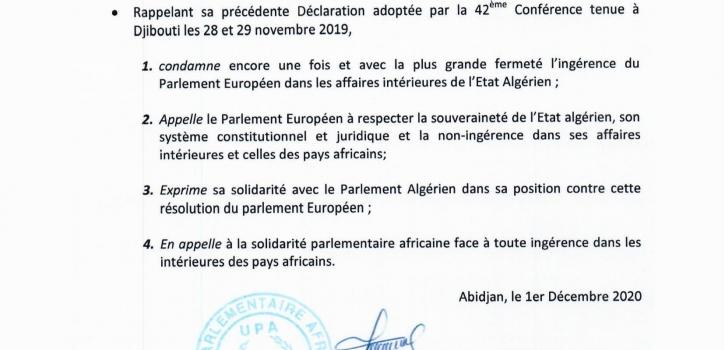 الاتحاد البرلماني الإفريقي يدين تدخل البرلمان الأوروبي في الشأن الجزائري ويدعو إلى تضامن برلماني قاري